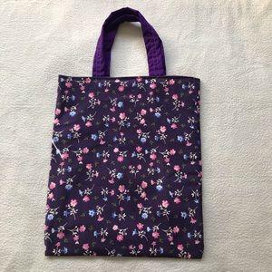 Handmade Purple Corduroy Tote Bag Floral Print NEW
